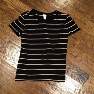 Gold and White Striped H&M T-Shirt Women's